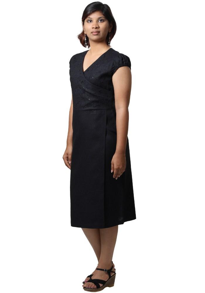 MINC Ecofriendly Womens Wear Asymmetric Embroidered Little Black Linen Dress