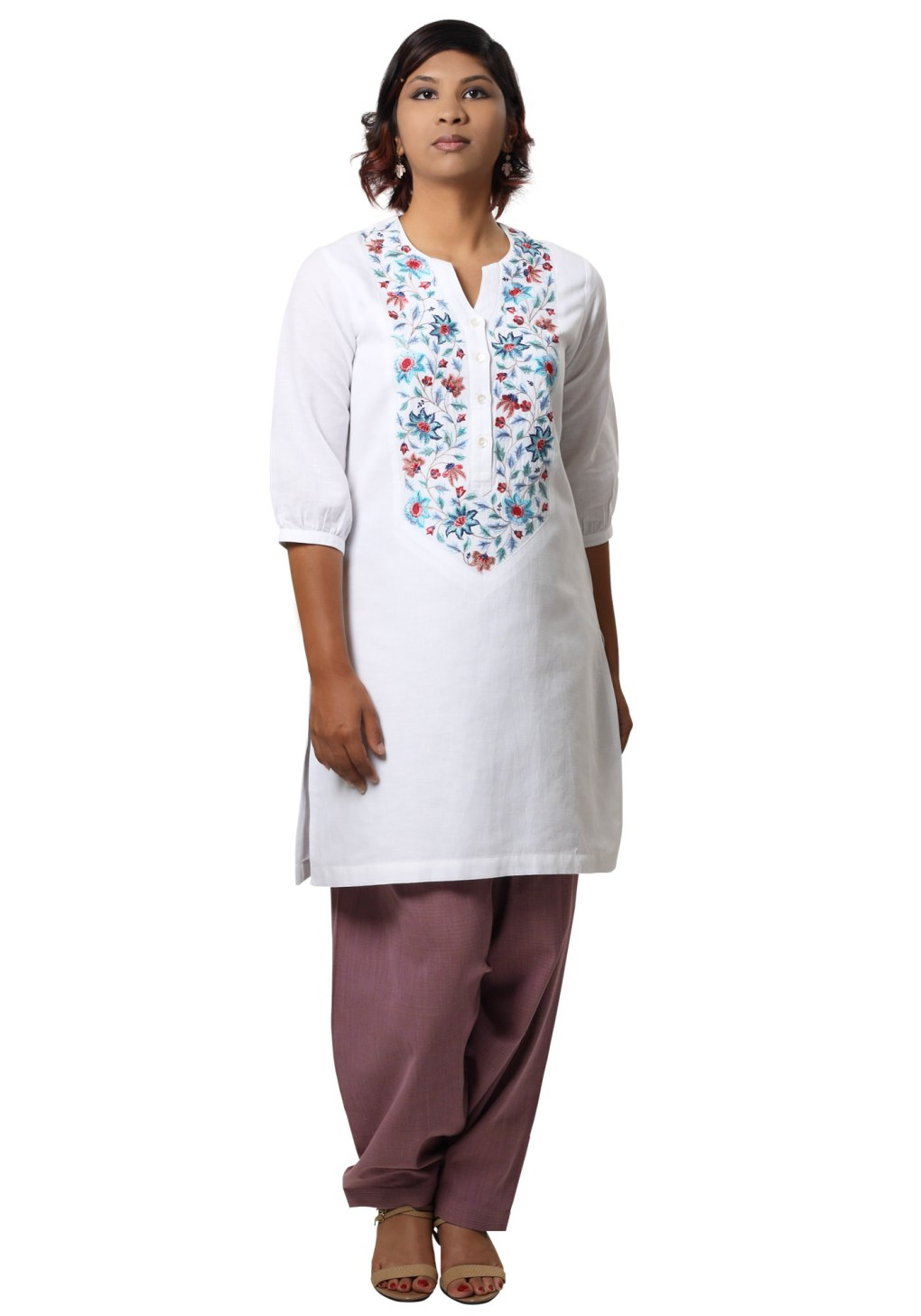 MINC Floral Embroidered Kurti in White Linen