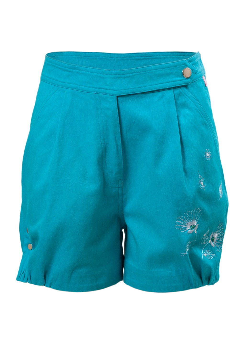 MINC Petite Blue Lagoon Embroidered Girls Shorts in Cotton Twill