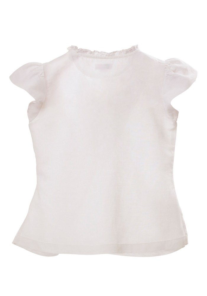 MINC Petite Embroidered Girls Top in White Cotton Linen