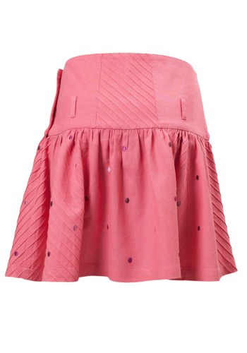 MINC Petite Embroidered Polka Dot Girls Short Skirt in Pink Linen