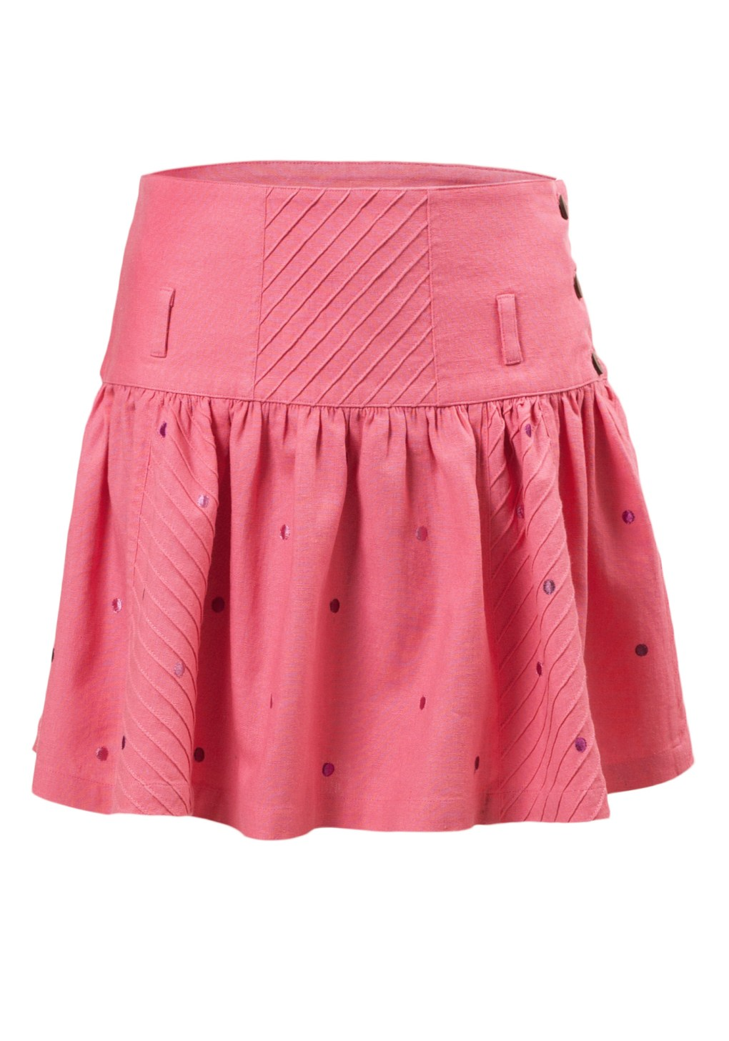 MINC Petite Embroidered Polka Dot Girls Skirt in Pink Linen