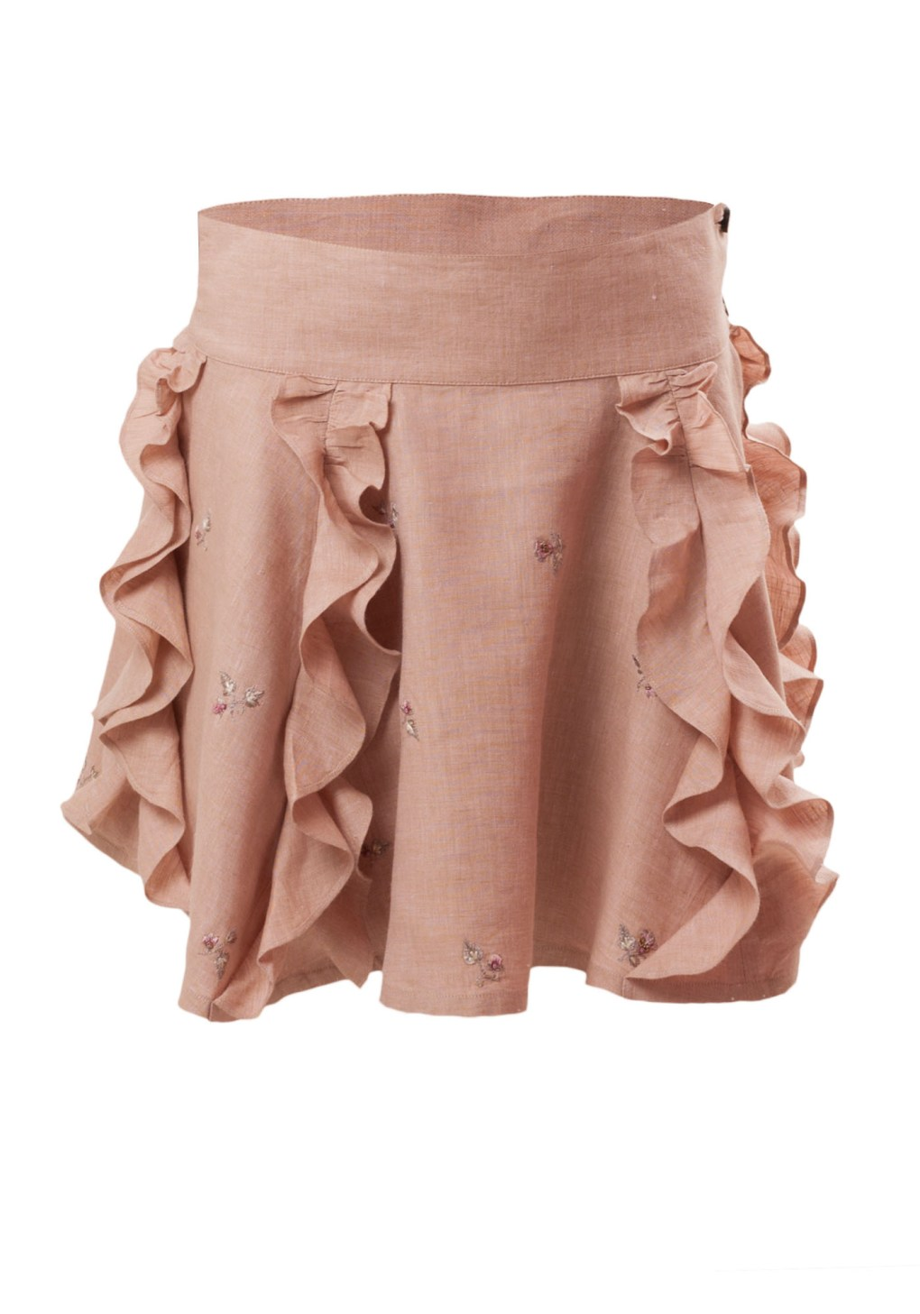 MINC Petite Frosted Almond Embroidered Girls Ruffle Skirt in Beige Linen