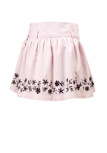 MINC Petite Girls Embroidered Short Skirt in Pink Cotton Twill