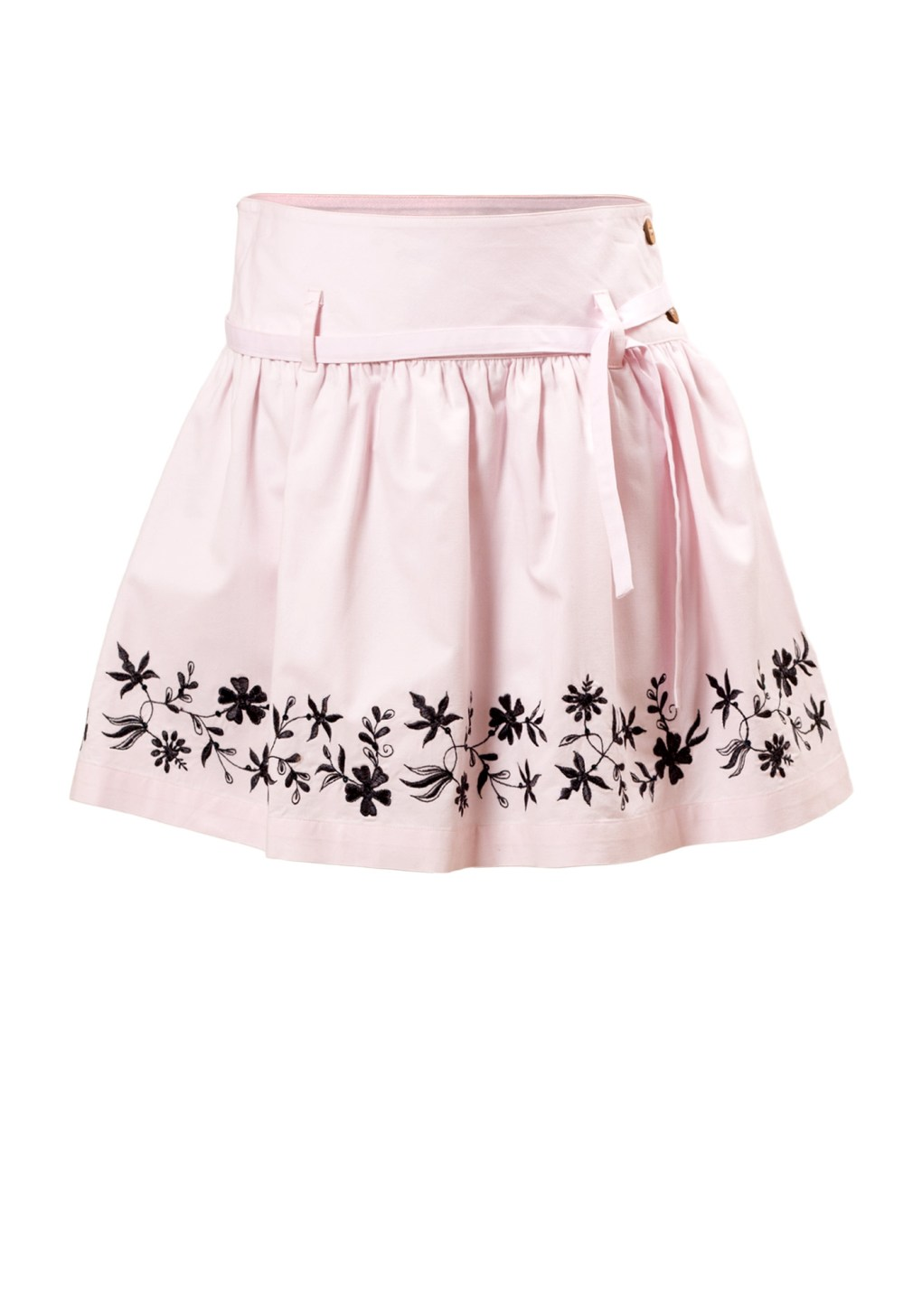 MINC Petite Girls Embroidered Skirt in Pink Cotton Twill