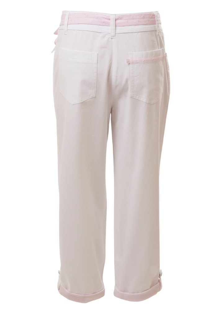 MINC Petite Pink Ice Girls Capris in White Cotton Twill
