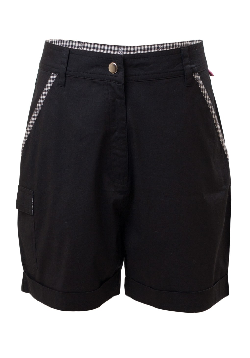 MINC Petite Sober Safari Girls Roll Back Cuff Shorts in Phantom Black Cotton