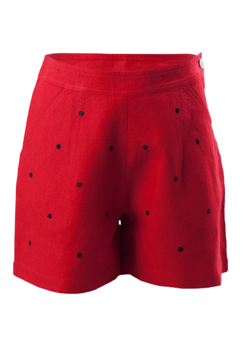 MINC Petite Strawberry Girls Embroidered Polka Dot Shorts in Red Linen