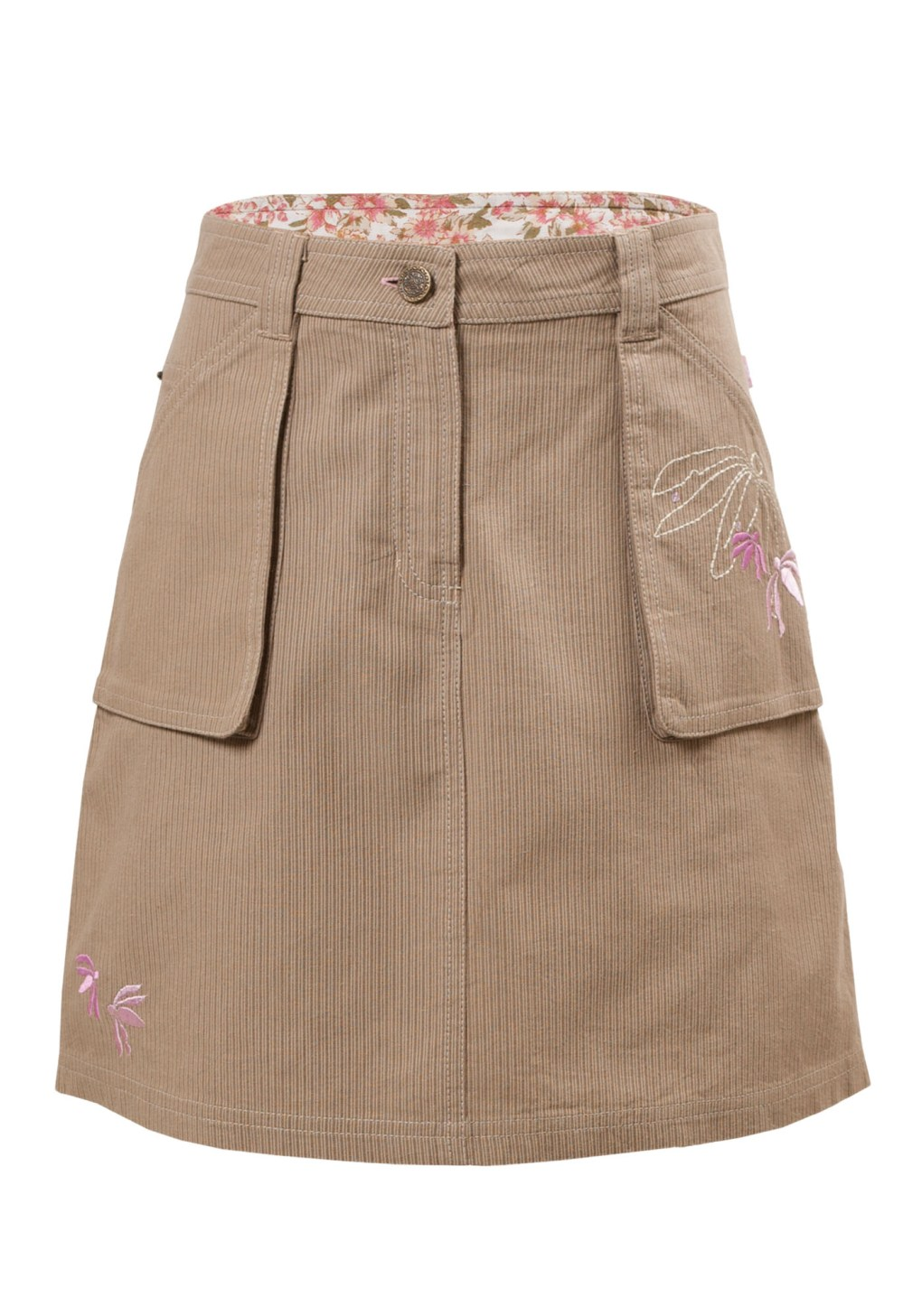 MINC Petite Autumn Fun Girls Embroidered Short Skirt in Beige Corduroy