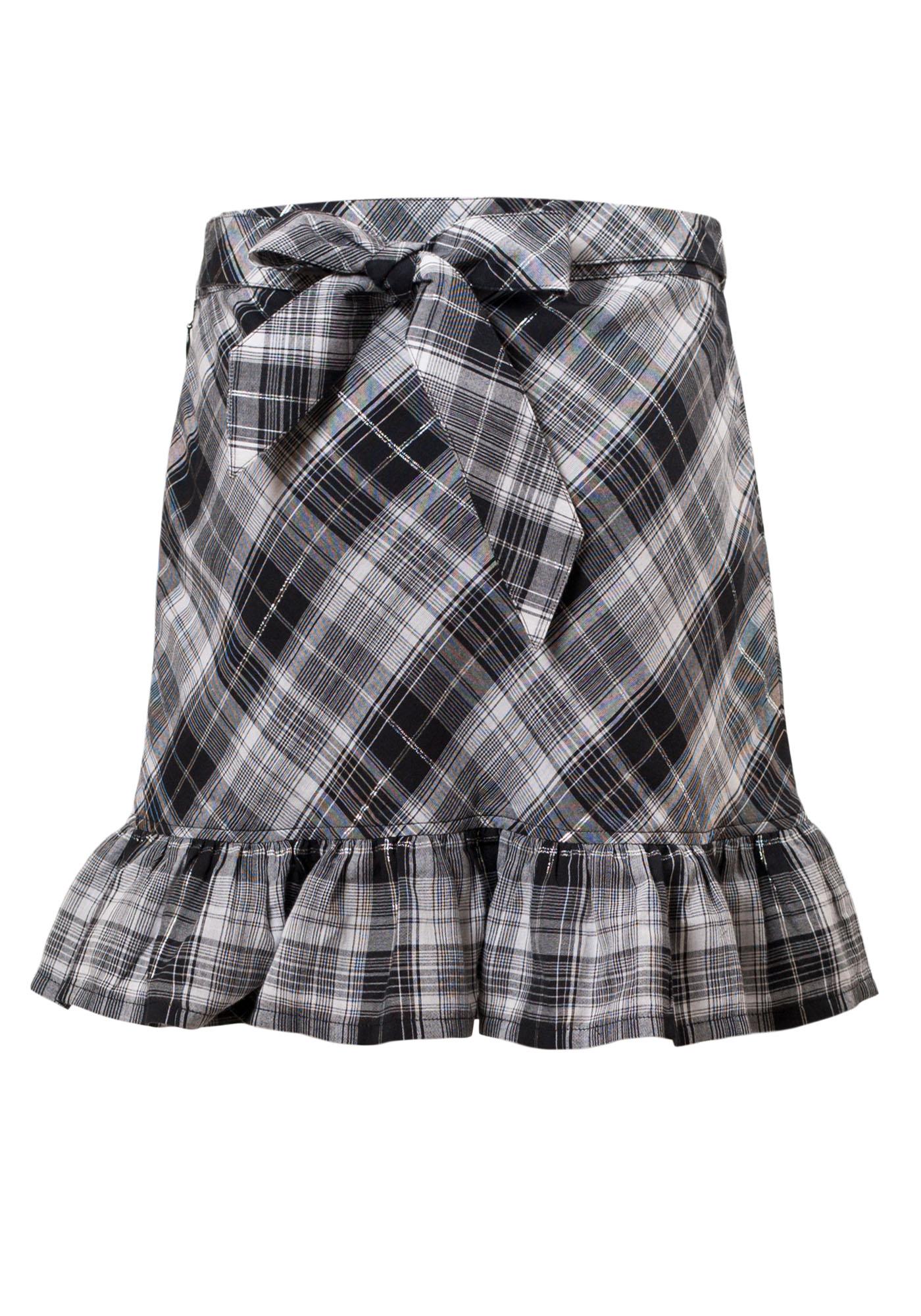 MINC Petite Elegant Girls Ruffle Skirt in Black & White Checks Cotton
