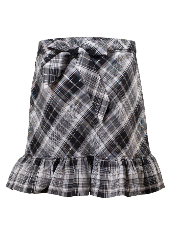 MINC Petite Elegant Girls Ruffle Skirt in Black & White Checks Cotton