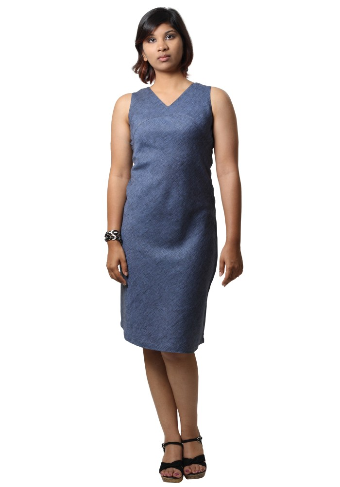 MINC Street Wear Linen Short Dress in Blueberry Blue
