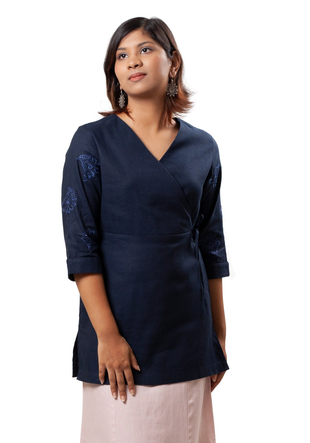 MINC Asymmetric Embroidered Tie Top in Navy Blue Cotton