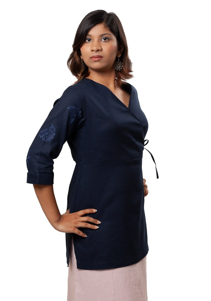 MINC Ecofashion Womens Daywear Asymmetric Embroidered Tie Top in Navy Blue Cotton