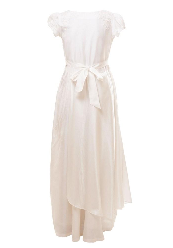 MINC Petite Girls Asymmetric Gown in Pearl White Silk
