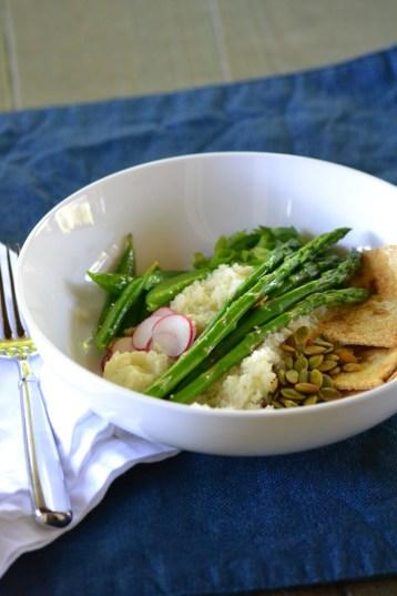 "Spring Vegetable Cauliflower ""Couscous"" Bowl (www.mincedblog.com)"