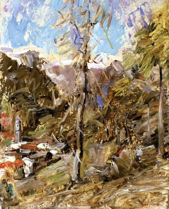 RAFFALDINI Primavera in montagna 1945 olio su cartone (copia)