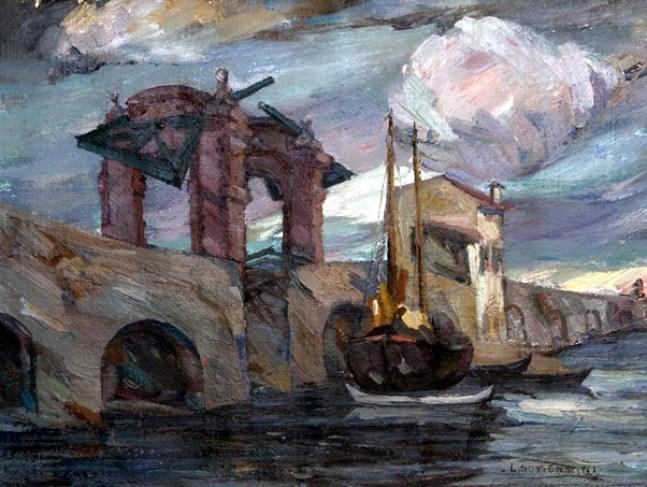 Somensari Luigi - Ponte di S. Giorgio - Temporale 1922, olio su tela 41x54