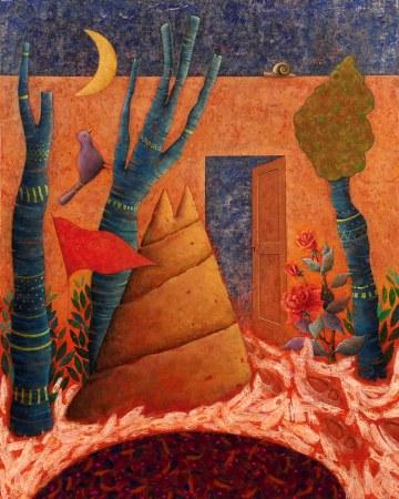 Claudio-Benghi-Luscita-del-giardino-Tecnica-mista-su-tavola-cm100x80-2010