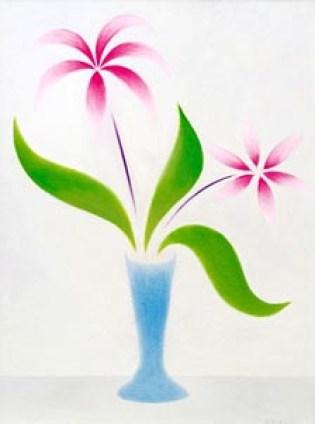 DE LUIGI GIUSEPPE - Vaso con fiori fucsia-anni'60-olio su tela-cm 70x50 (200).jpg