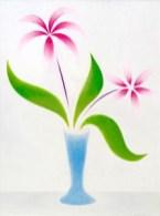 DE LUIGI GIUSEPPE - Vaso con fiori fucsia-anni'60-olio su tela-cm 70x50 (200)
