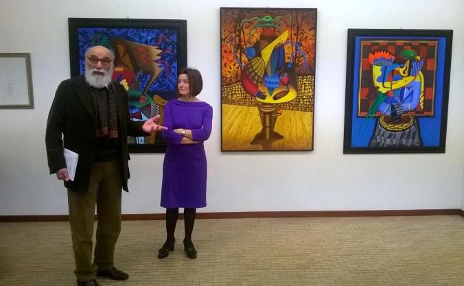 Il pittore Osvaldo Forno con la gallerista Arianna Sartori.jpg