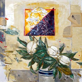 VENDITTI ALBERTTO, Vincent e i fiori, 2016, tecnica mista su tela, 80x80 (200)