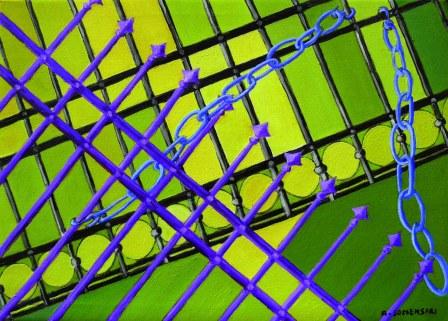 Legami 1 - ferro 2014 olio su tela 50x70
