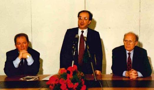 Mantova - da sx Nanni Rossi - Carlo Tognoli e Gino Scevarolli -Festa provinciale -Avanti- del 1991