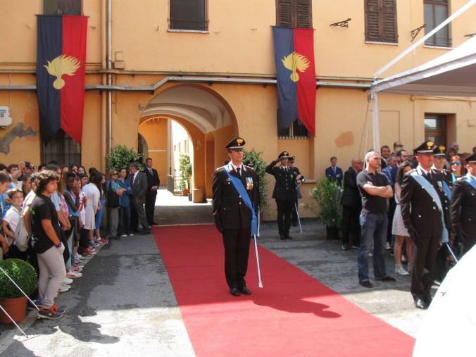 L'arrivo del comandante del Tenente Colonnello Fabio Federici