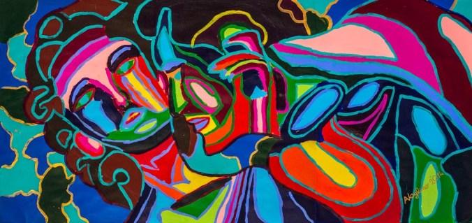 Alice Voglino Passione colori acrilici su cartoncino cm 70x150, 2014.jpg