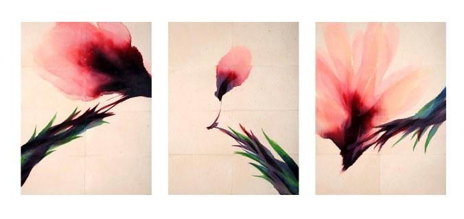 davide-benati-conversazione-2009-trittico-acquerello-su-carta-intelata-cm-195x1475