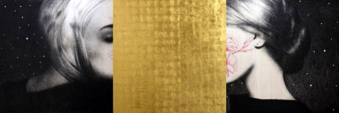omar-galliani-nuovi-mantra-2015-matita-nera-su-tavola-e-foglia-doro-trittico-cm-150x450