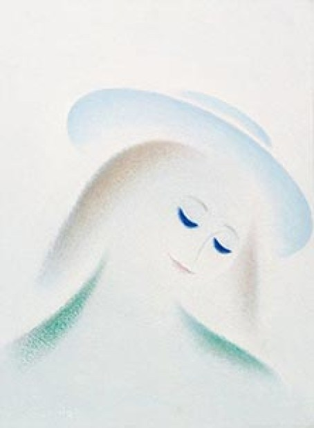 Ragazza castana con cappello-anni '70-olio su tela-cm 70x50