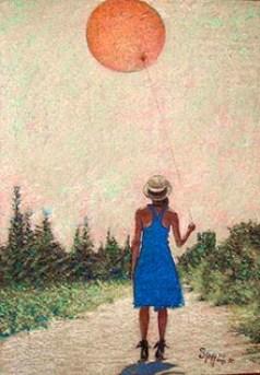 Franco Spaggiari - Ragazza che tiene per mano il sole, pastello (200).jpg