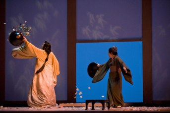 Kristine Opolais as Cio-Cio-San and Helene Schneiderman as Suzuki in the Royal Opera revival of Madama Butterfly (2003) by Giacomo Puccini (1858-1924) directed by Moshe Leiser and Patrice Caurier with set designs by Christian Fenouillat, costumes by Agostino Cavalca and lighting by Christophe Forey, performed at the Royal Opera House, Covent Garden on 22 June 2011. ARPDATA ; MADAMA BUTTERFLY ; Music by Puccini ; Kristine Opolais (as Cio-Cio-San) and Helene Schneiderman (as Suzuki) ; The Royal Opera ; At the Royal Opera House, London, UK ; 22 June 2011 ; Credit: Mike Hoban / Royal Opera House / ArenaPAL