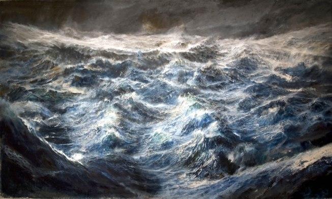 F. Santosuosso, TEMPESTA SULL'OCEANO PRIMORDIALE. olio e acrilici su tela - cm 220 x 387, 2014.jpg