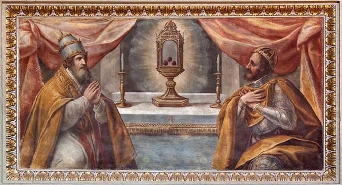 Ippolito Andreasi, Papa Leone III e Carlo Magno venerano la reliquia del Preziosissimo Sangue di Cristo, affresco, 1605