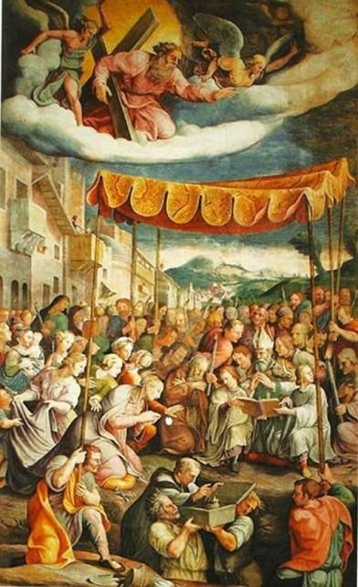 Rinaldo Mantovano (su disegni di Giulio Romano), Secondo ritrovamento del Preziosissimo Sangue di Cristo, affresco, metà XVI secolo.jpg