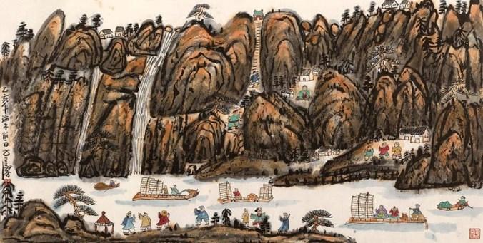 2. Fang Zhaolin, Viaggiando attraverso montagne e fiumi, 1995, inchiostro e colori su carta di riso, cm 70x138