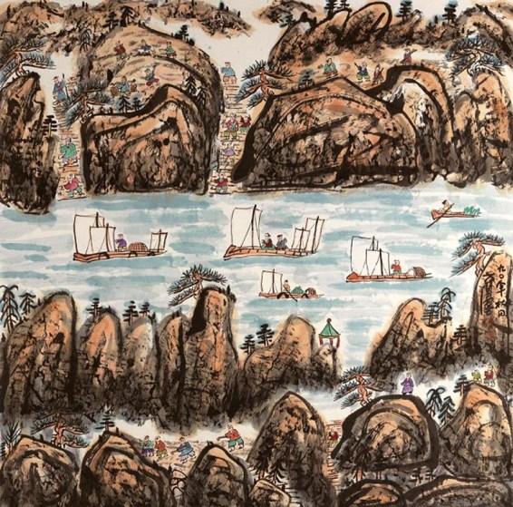 20. Fang Zhaolin, Scena lavorativa, 1990, inchiostro e colore su carta di riso, cm 123x123
