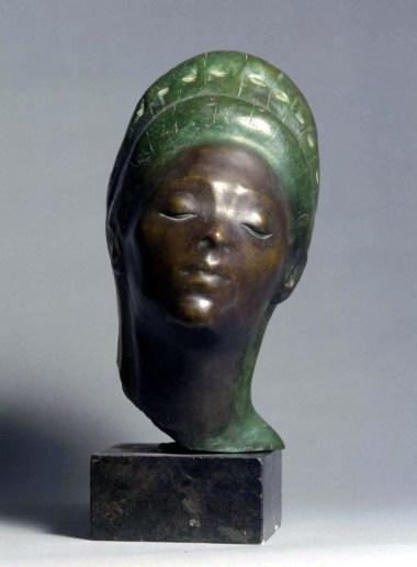 Enzo Nenci (1903-1972), Testa di donna malese, 1954, bronzo policromo