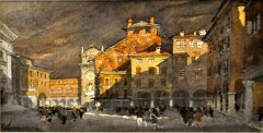FERRARINI_Mantova-piazza-Mantegna-ultimo-sole-1999-acquerello-29-x-47-cm