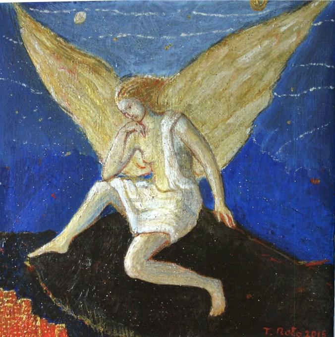 Angelo, 2015, olio su tela, di Teresa Noto
