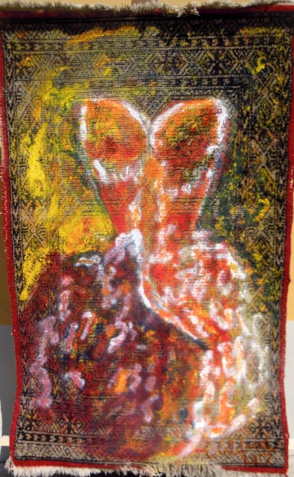 Venere (omaggio alla donna) 2017 - acrilico su tappeto di Bukhara Cm. 150x100