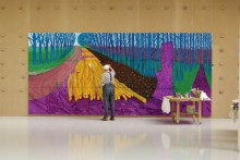 "DAVID HOCKNEY PAINTING ""WINTER TIMBER"" IN BRIDLINGTON, JULY 2009 © DAVID HOCKNEY PHOTO CREDIT: JEAN-PIERRE GONCALVES DE LIMA"