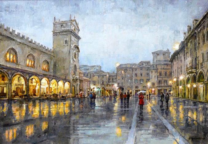 BUSINELLI GIANCARLO - Piazza delle Erbe a Mantova, 2017, olio su tela, cm 50x70