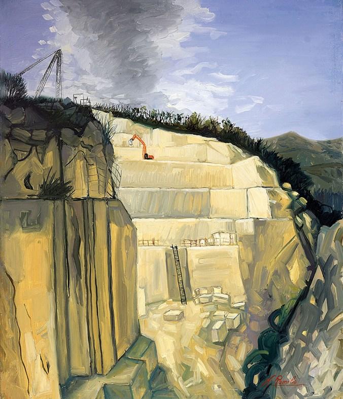 ROMILIO NICOLA - Le vene di S. Caterina (cava di travertino di Acquasanta Terme - AP), 2016, olio su tela, 70x60