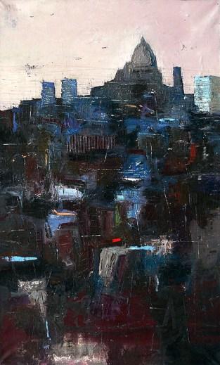 STAZIO IVO - Skyline, 2015, olio su tela, cm 150x90