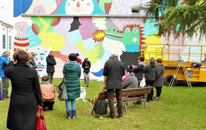 Il murale di Mina Hamada e Zosen Bandido a Cotignola